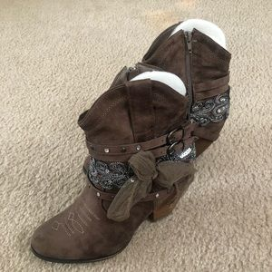 Not Rated Embellished Taupe Ankle Boots